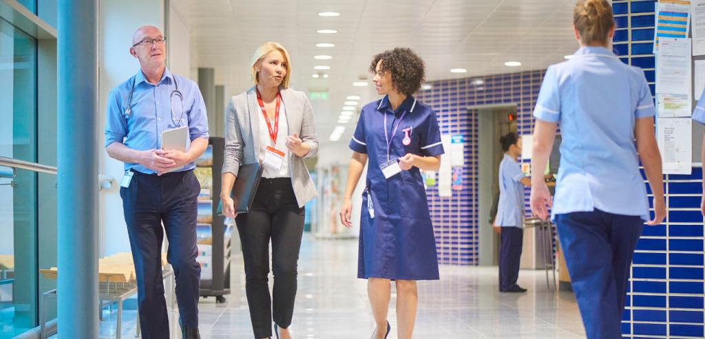 Doctors and Nurses walking around the hospital